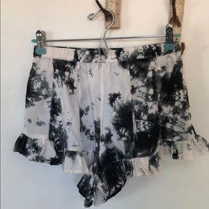 Pants - Black and white ruffle shorts